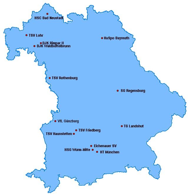 Landkarte der Bayernliga